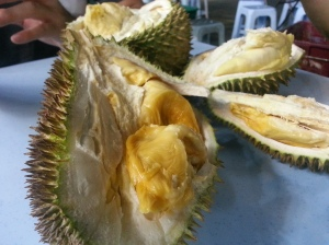 The inside of the durian