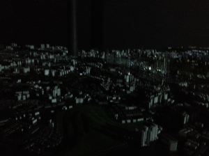 Great arial shot of the city or tiny scaled model of every building in the city accompanied by a light show and movie detailing all the great buildings and projects coming soon?