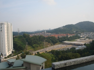 A view from the top of one of the buildings in the development we were staying in via air bnb and Iris' boss. A view of our future neighborhood, Desa Sri Hartamas, but again we did not know this at the time.