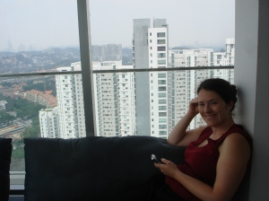 My lovely wife enjoying the lounge at the top of one of the towers in that air bnb development we were staying in