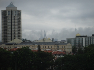 The view of the towers from our bedroom window on a foggy day. Really cool