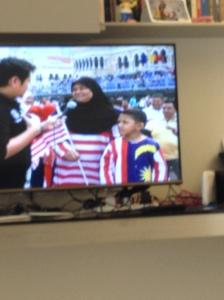 I think I saw some Malaysian flag hijab's on the TV as well.