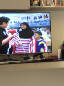 I think I saw some Malaysian flag hijab's on the TV as well.