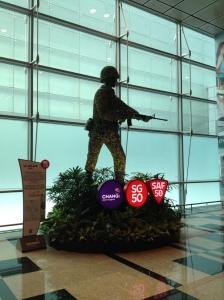 Topiary of Singaporean soldier.