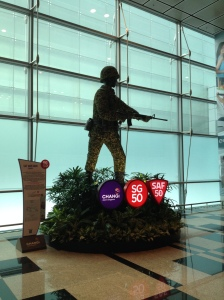 Topiary of Singaporean soldier.