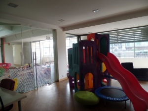 A small inside playground on the second floor since it rains quite a bit here.
