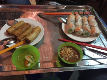 Our first spring rolls in Saigon