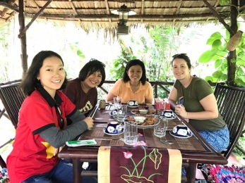 Enjoying our relaxing homestay lunch
